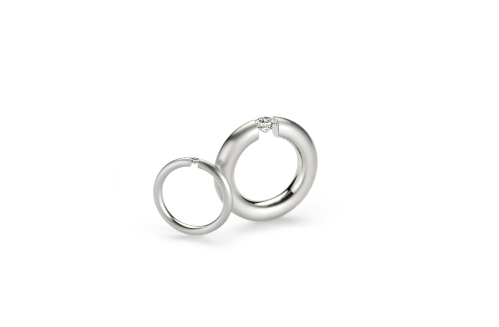 Ring <em>Spannring® S</em>. Platin 950 mit Brillant ab 0.07ct. MJC Winner 2013.